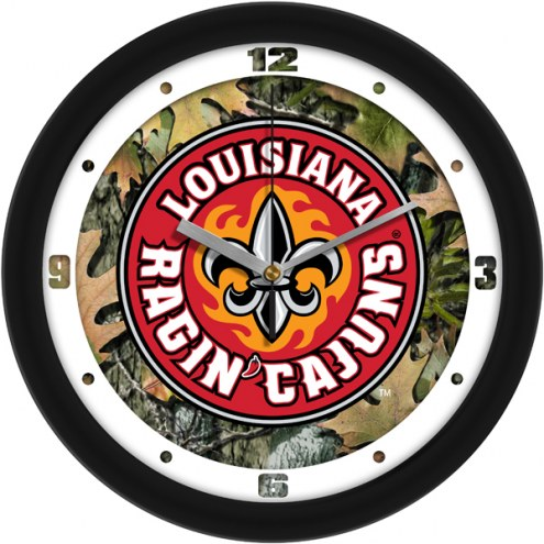 Louisiana Lafayette Ragin' Cajuns Camo Wall Clock