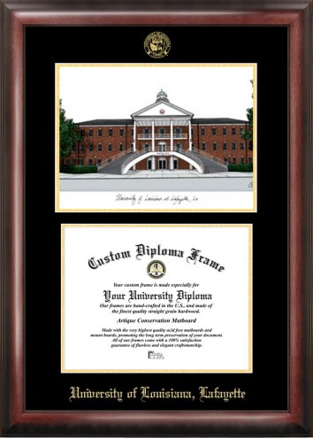 Louisiana Lafayette Ragin' Cajuns Gold Embossed Diploma Frame with Lithograph