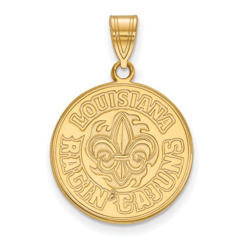 Louisiana Lafayette Ragin' Cajuns Sterling Silver Gold Plated Large Pendant