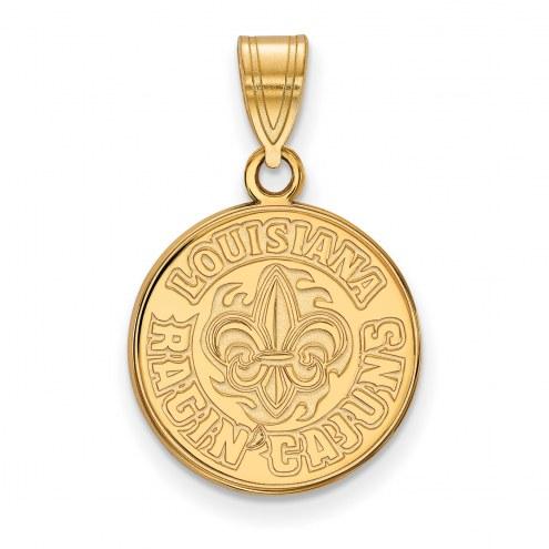 Louisiana Lafayette Ragin' Cajuns Sterling Silver Gold Plated Medium Pendant