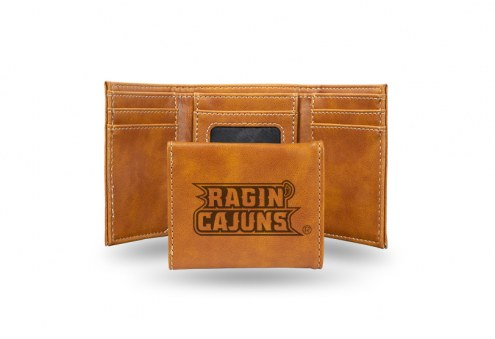 Louisiana Lafayette Ragin' Cajuns Laser Engraved Brown Trifold Wallet