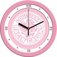 Louisiana Lafayette Ragin' Cajuns Pink Wall Clock