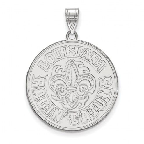 Louisiana Lafayette Ragin' Cajuns Sterling Silver Extra Large Pendant