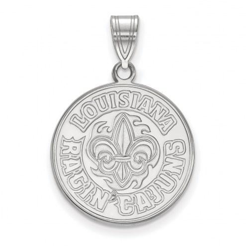 Louisiana Lafayette Ragin' Cajuns Sterling Silver Large Pendant