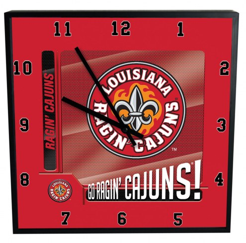 Louisiana Lafayette Ragin' Cajuns Team Black Square Clock