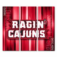Louisiana Lafayette Ragin' Cajuns Triptych Rush Canvas Wall Art