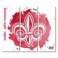 Louisiana Lafayette Ragin' Cajuns Triptych Watercolor Canvas Wall Art
