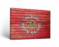 Louisiana Lafayette Ragin' Cajuns Weathered Canvas Wall Art