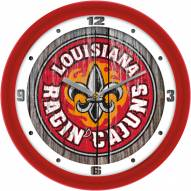 Louisiana Lafayette Ragin' Cajuns Weathered Wood Wall Clock
