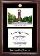Louisiana Tech Bulldogs Gold Embossed Diploma Frame with Campus Images Lithograph