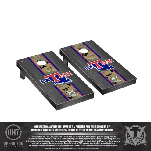 Louisiana Tech Bulldogs Operation Hat Trick Onyx Stained Cornhole Game Set