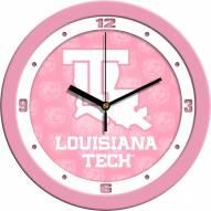 Louisiana Tech Bulldogs Pink Wall Clock
