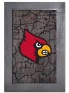 """Louisville Cardinals 11"""" x 19"""" City Map Framed Sign"""