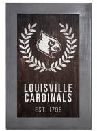 "Louisville Cardinals 11"" x 19"" Laurel Wreath Framed Sign"
