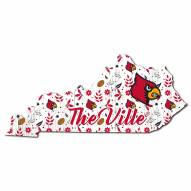"""Louisville Cardinals 12"""" Floral State Sign"""