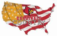 "Louisville Cardinals 15"" USA Flag Cutout Sign"