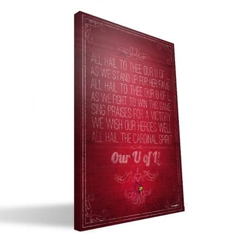 """Louisville Cardinals 16"""" x 24"""" Song Canvas Print"""