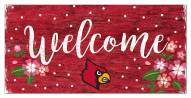 """Louisville Cardinals 6"""" x 12"""" Floral Welcome Sign"""