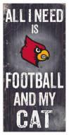 """Louisville Cardinals 6"""" x 12"""" Football & My Cat Sign"""