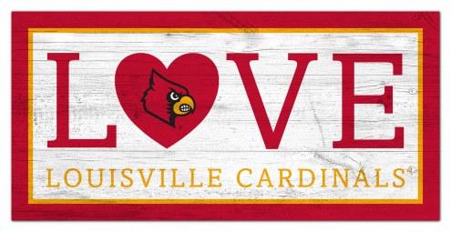 """Louisville Cardinals 6"""" x 12"""" Love Sign"""
