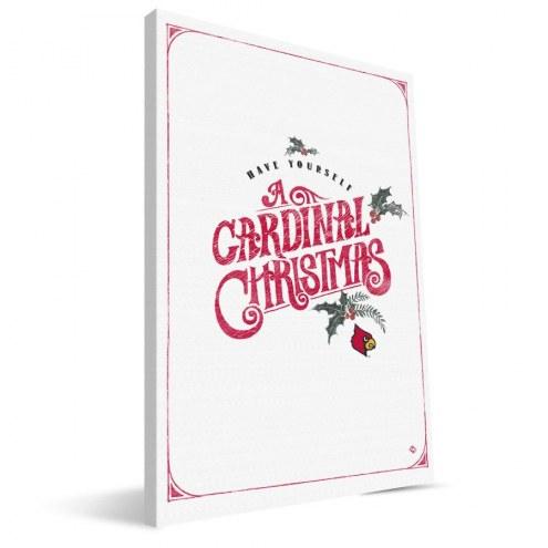 """Louisville Cardinals 8"""" x 12"""" Merry Little Christmas Canvas Print"""