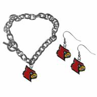 Louisville Cardinals Chain Bracelet & Dangle Earring Set