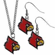 Louisville Cardinals Dangle Earrings & Chain Necklace Set