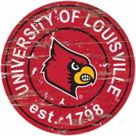 Louisville Cardinals Distressed Round Sign