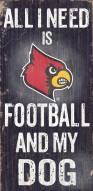 Louisville Cardinals Football & Dog Wood Sign