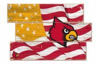 Louisville Cardinals Flag 3 Plank Sign