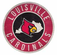 Louisville Cardinals Round State Wood Sign
