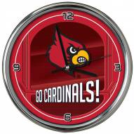 Louisville Cardinals Go Team Chrome Clock