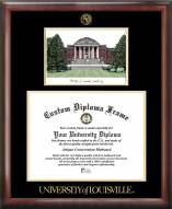 Louisville Cardinals Gold Embossed Diploma Frame with Campus Images Lithograph