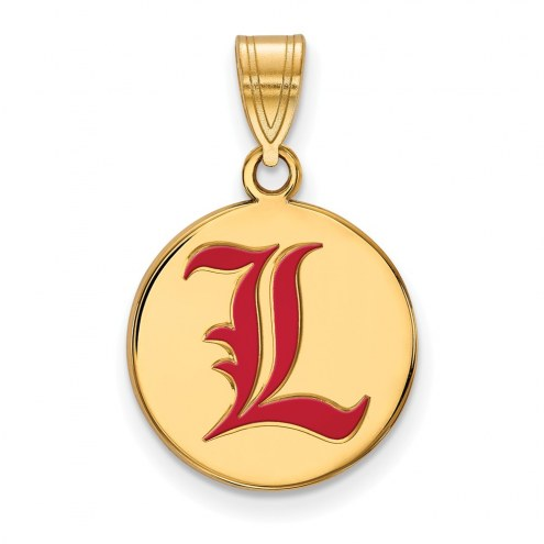 Louisville Cardinals Sterling Silver Gold Plated Medium Enameled Disc Pendant