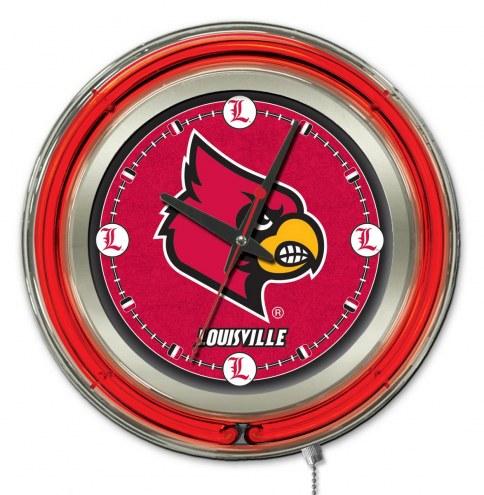 Louisville Cardinals Neon Clock