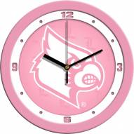 Louisville Cardinals Pink Wall Clock