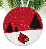 Louisville Cardinals Snow Scene Ornament