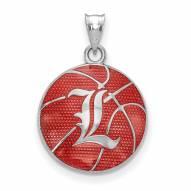 Louisville Cardinals Sterling Silver Enameled Basketball Pendant