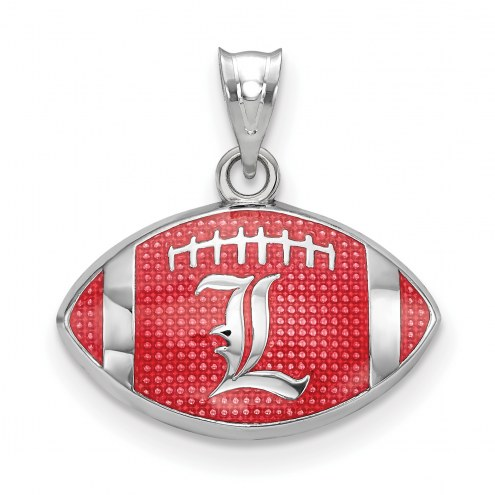Louisville Cardinals Sterling Silver Enameled Football Pendant