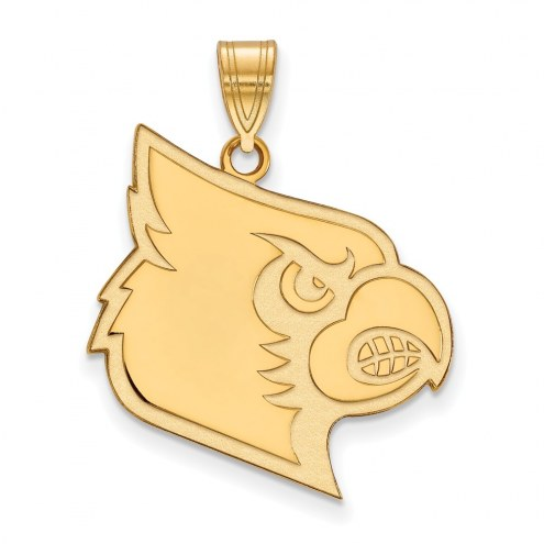 Louisville Cardinals Sterling Silver Gold Plated Extra Large Pendant