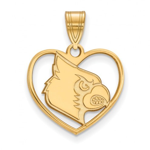 Louisville Cardinals Sterling Silver Gold Plated Heart Pendant