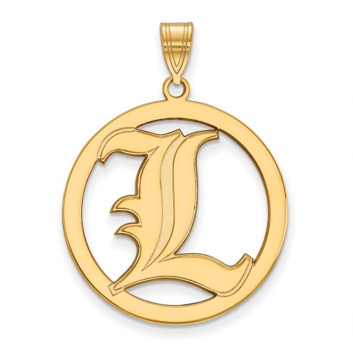 Louisville Cardinals Sterling Silver Gold Plated Large Circle Pendant