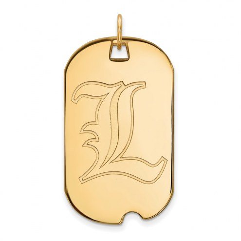 Louisville Cardinals Sterling Silver Gold Plated Large Dog Tag