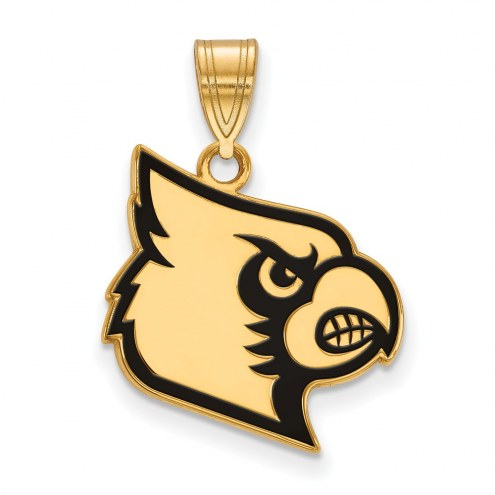 Louisville Cardinals Sterling Silver Gold Plated Large Enameled Pendant