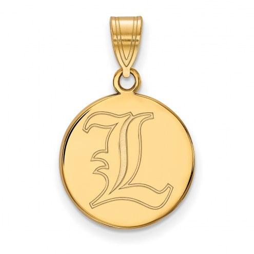 Louisville Cardinals Sterling Silver Gold Plated Medium Disc Pendant