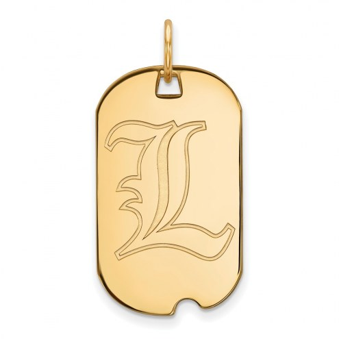 Louisville Cardinals Sterling Silver Gold Plated Small Dog Tag