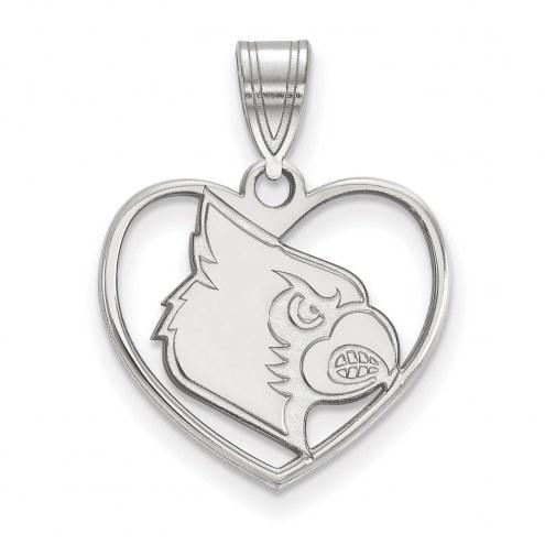 Louisville Cardinals Sterling Silver Heart Pendant