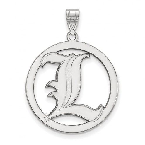 Louisville Cardinals Sterling Silver Large Circle Pendant