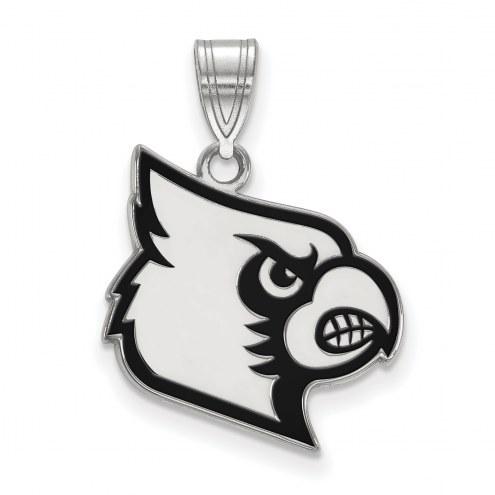 Louisville Cardinals Sterling Silver Large Enameled Pendant