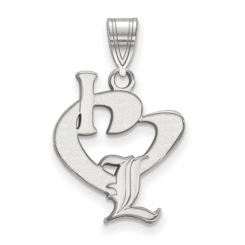 Louisville Cardinals Sterling Silver Large I Love Logo Pendant